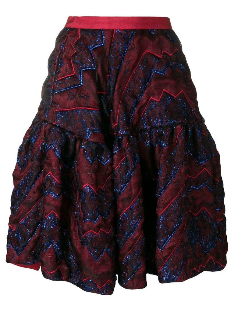 Talbot Runhof quilted metallic thread skirt - Red