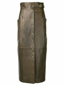 Alberta Ferretti button-up midi skirt - Brown