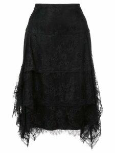 Josie Natori lace ruffle skirt - Black