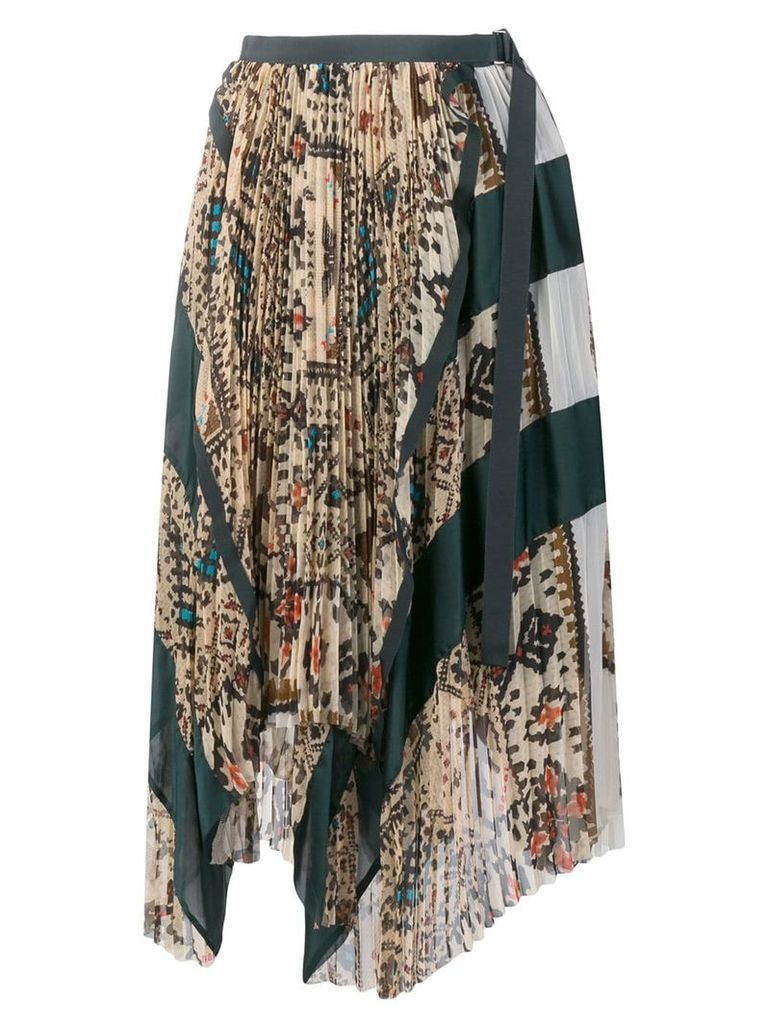 Sacai asymmetric pleated patchwork skirt - Neutrals