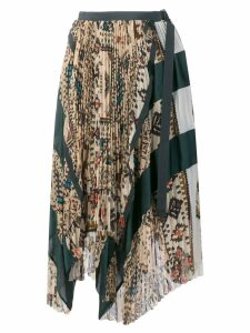 Sacai asymmetric pleated patchwork skirt - Neutrals