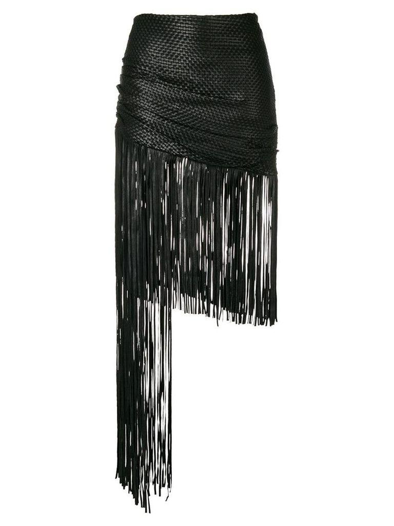 Magda Butrym asymmetric fringed skirt - Black