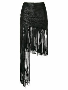 Magda Butrym asymmetric fringed skirt - Black