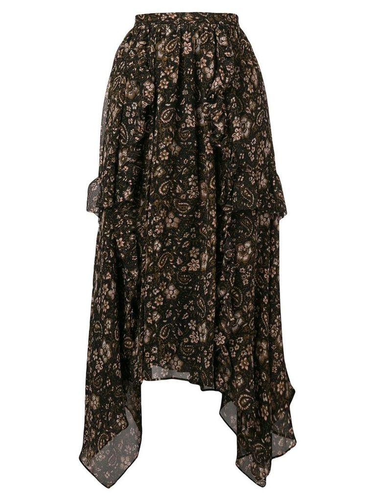 Ulla Johnson Torri asymmetric silk skirt - Black