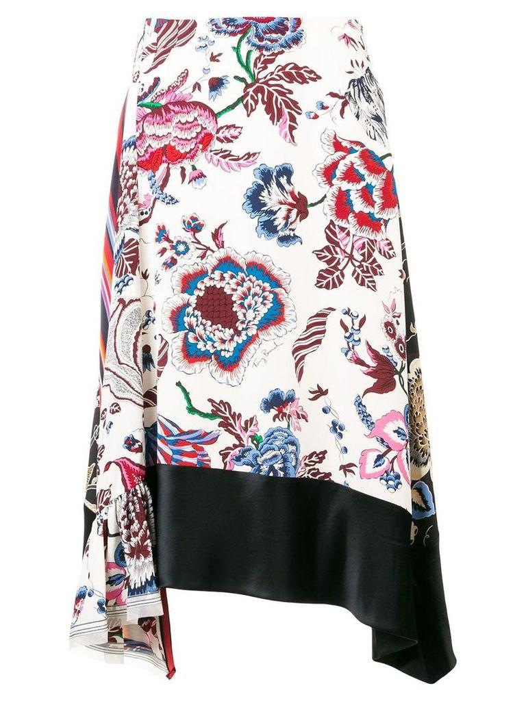 Tory Burch asymmetric floral skirt - White