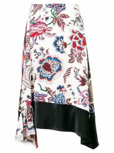 Tory Burch asymmetric floral skirt - White