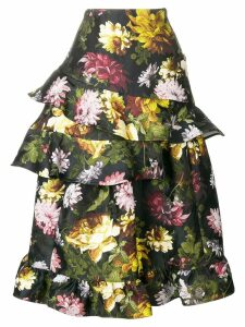 Preen By Thornton Bregazzi Esta floral frilled skirt - Black