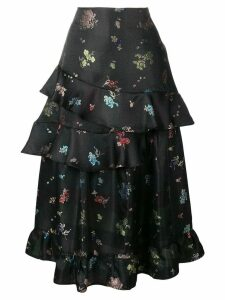 Preen By Thornton Bregazzi frilled floral printed skirt - Black
