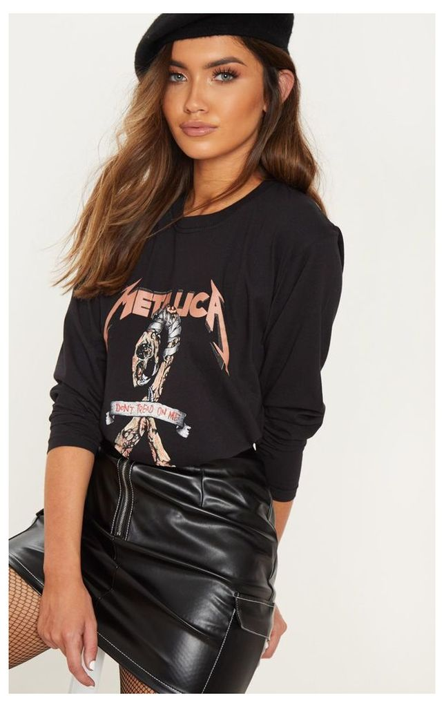 Black Metallica Long Sleeve Top, Black