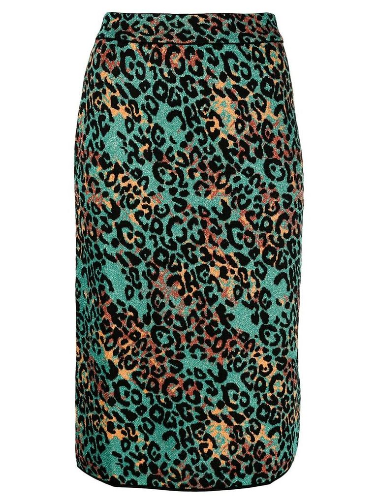M Missoni cheetah printed pencil skirt - Blue