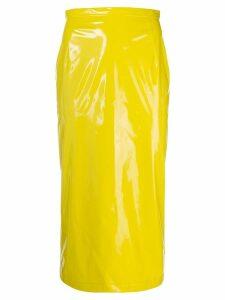 Nº21 vinyl pencil skirt - Yellow