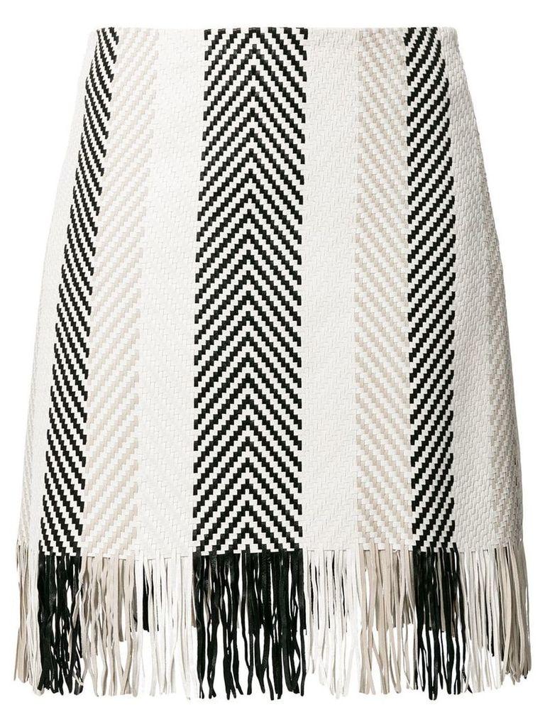 Drome woven fringe skirt - White