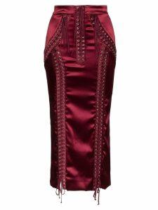 Dolce & Gabbana Corset Silk Midi Skirt - Red