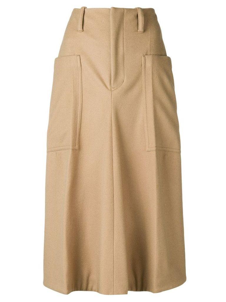 Y's flared midi skirt - Brown