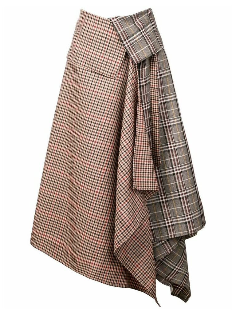 Monse patchwork plaid asymmetric skirt - Grey