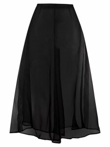 Brognano sheer flared midi skirt - Black