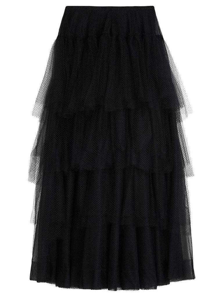 Burberry Tiered Open-net Tulle Skirt - Black