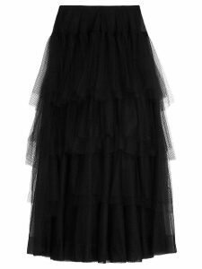 Burberry Tiered Open-net Tulle Skirt - Black