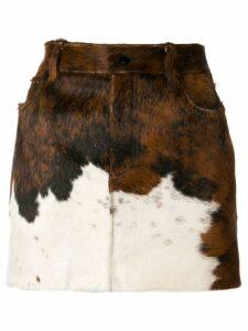 Saint Laurent calf leather skirt - Brown
