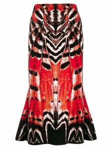 Alexander McQueen abstract print skirt - Red