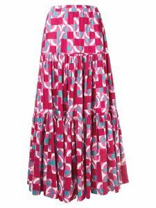 La Doublej geometric peasant skirt - Pink