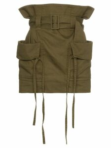 Saint Laurent high waist cargo pocket cotton ramie-blend skirt - Green
