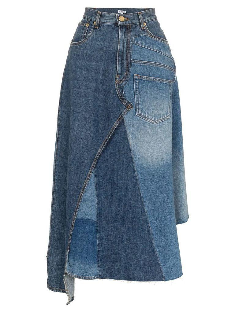 Loewe asymmetric patchwork denim skirt - Blue