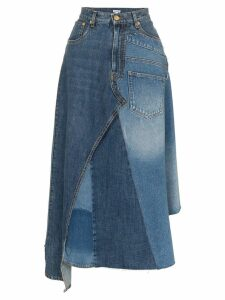 Loewe asymmetric patchwork denim skirt - Blue