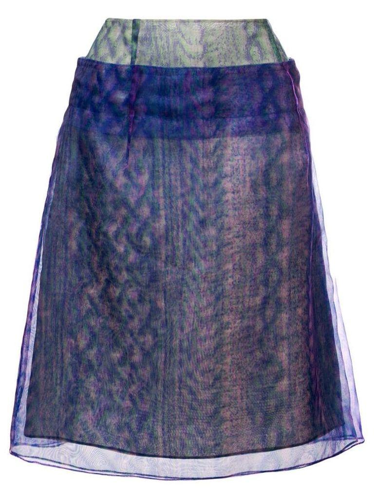 Maison Margiela optical illusion print layered skirt - Blue