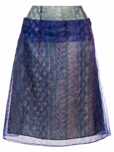 Maison Margiela optical illusion print layered skirt - Blue