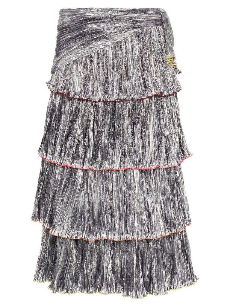 Rosie Assoulin High-Waisted Tiered Skirt - Metallic