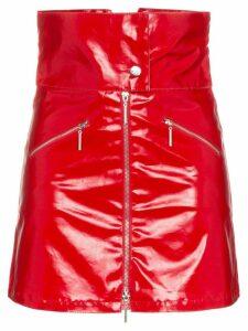 Adam Selman Sport Foldover High-Waisted PVC Mini Skirt - Red