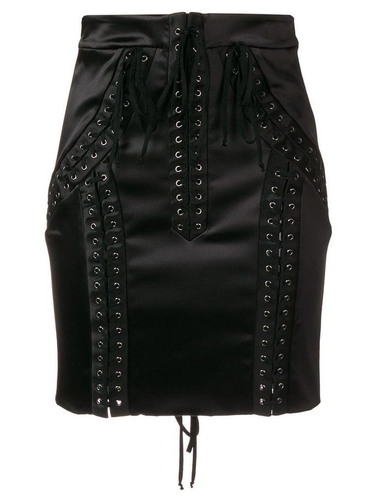 Dolce & Gabbana lace-up high-waisted skirt - Black