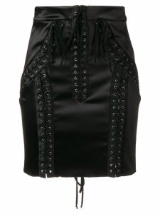 Dolce & Gabbana lace-up high-waisted skirt - Black