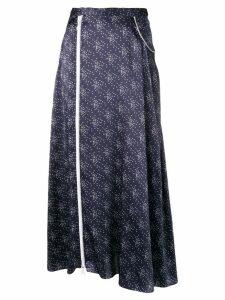 Marine Serre asymmetric midi skirt - Blue