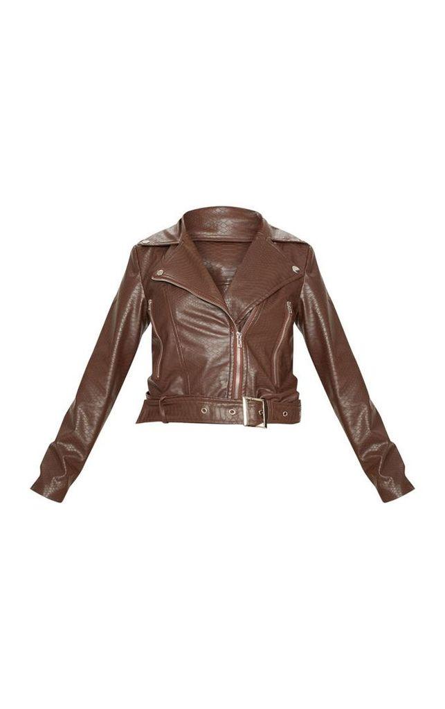 Petite Chocolate Brown Croc Textured PU Jacket, Chocolate Brown