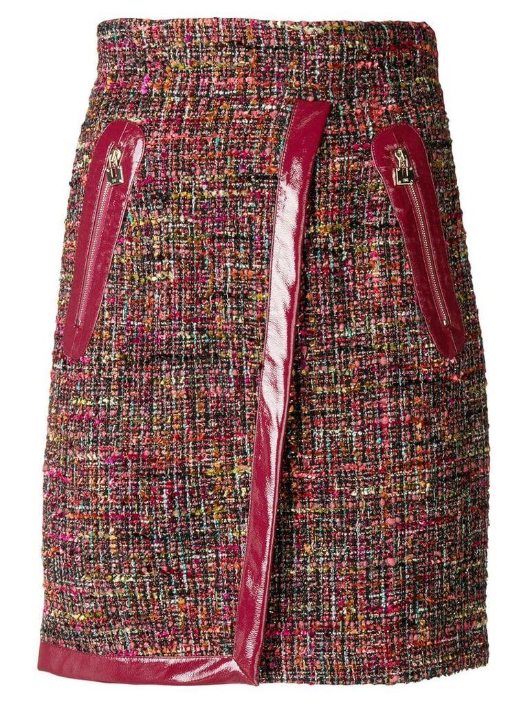 Elisabetta Franchi vernished high-waisted skirt - Red