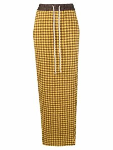 Rick Owens gingham check pencil skirt - Yellow
