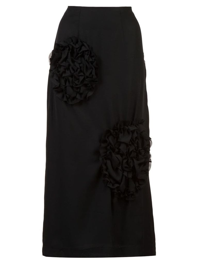 Simone Rocha ruched detailed pencil skirt - Black