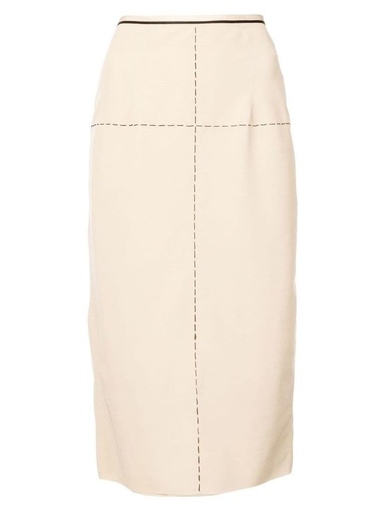 Vera Wang stitching details skirt - Brown