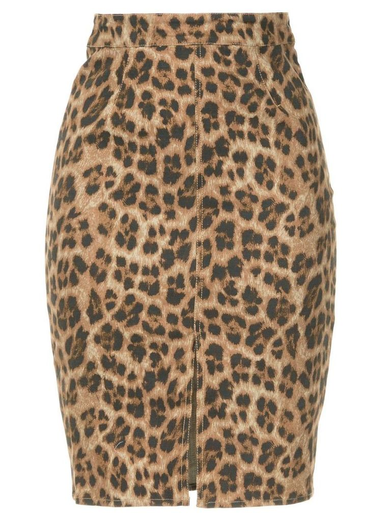 Miaou leopard print pencil skirt - Brown