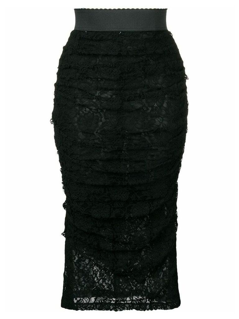 Dolce & Gabbana ruffled lace skirt - Black