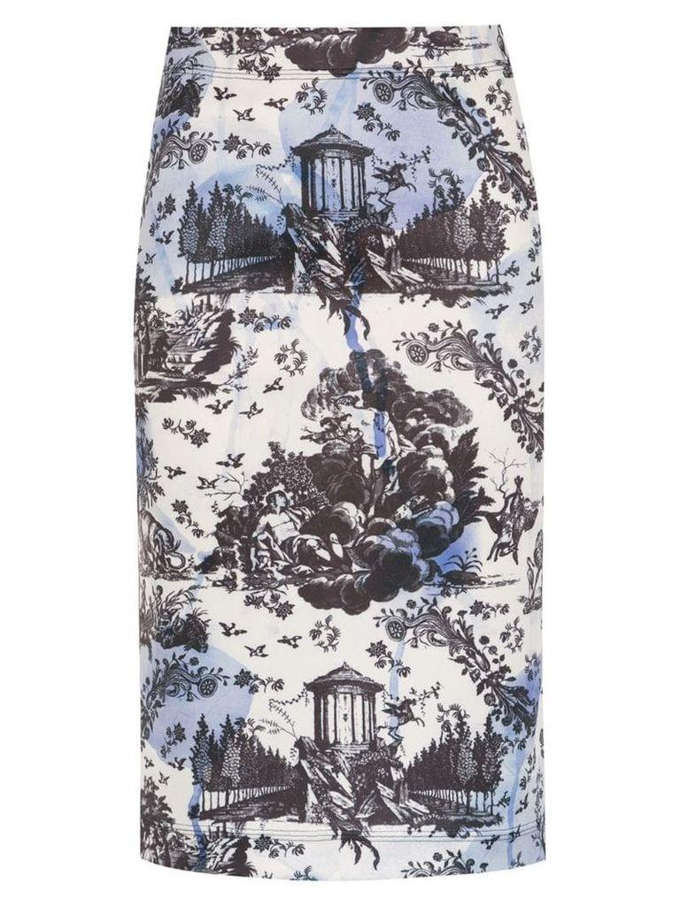 À La Garçonne printed pencil skirt - White