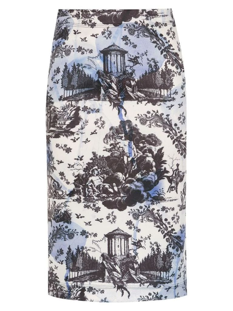 À La Garçonne printed pencil skirt - White
