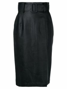 Sara Battaglia wet-look pencil skirt - Black