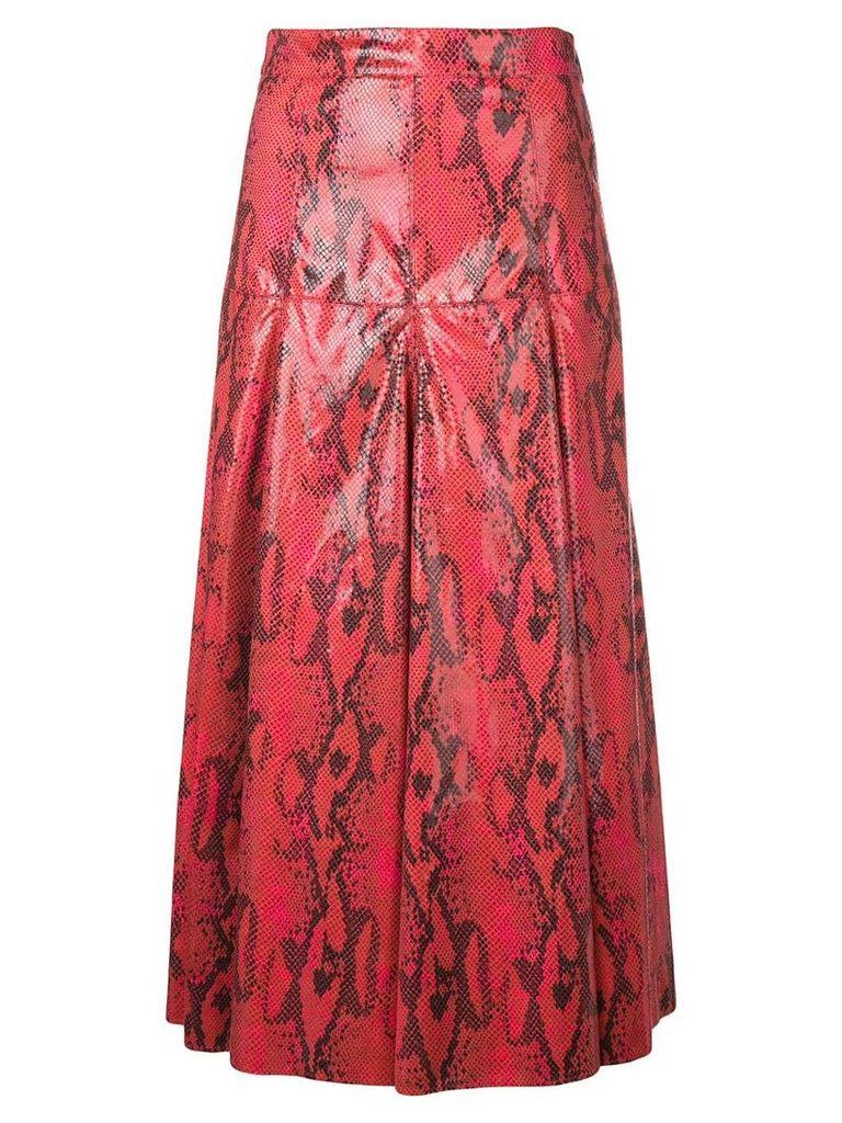 MSGM snakeskin effect skirt - Red