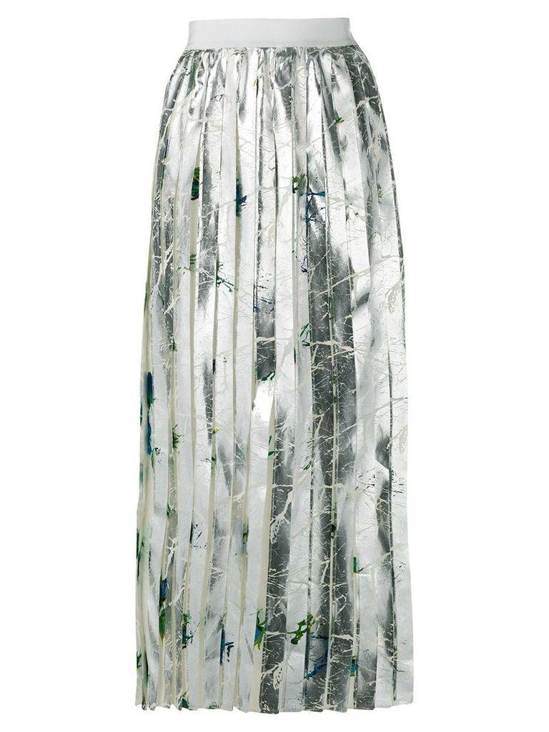 MSGM pleated midi skirt - Metallic