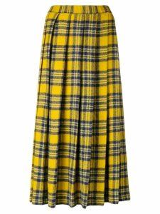 Aspesi pleated plaid midi skirt - Yellow
