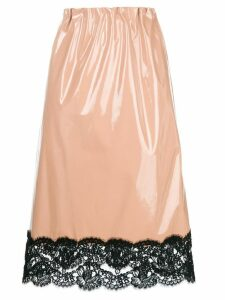 Nº21 lace trim midi skirt - Neutrals