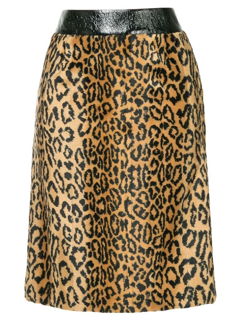 We11done leopard faux fur skirt - Brown